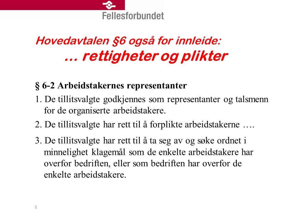 Hovedavtalen §6 også for innleide: … rettigheter og plikter § 6-2 Arbeidstakernes representanter 1.