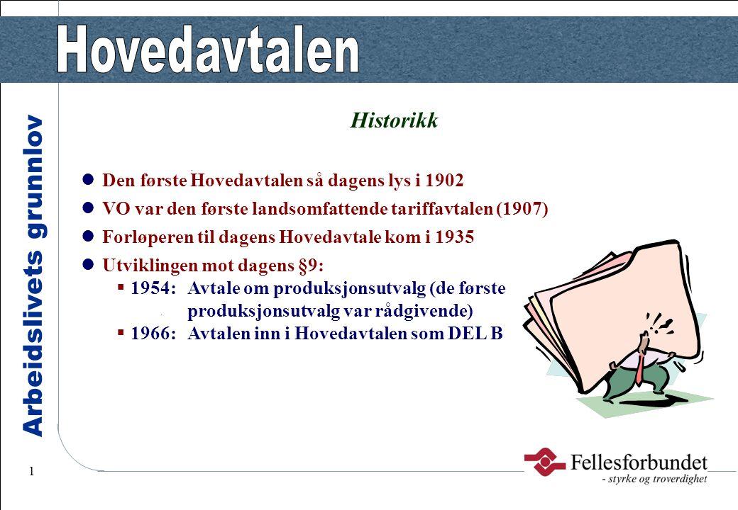 Arbeidslivets grunnlov 1 Historikk Den første Hovedavtalen så dagens lys i 1902 VO var den første landsomfattende tariffavtalen (1907) Forløperen til