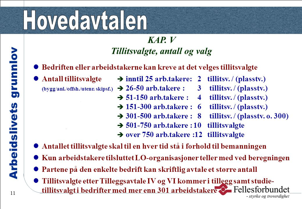 Arbeidslivets grunnlov 11 KAP. V Tillitsvalgte, antall og valg Bedriften eller arbeidstakerne kan kreve at det velges tillitsvalgte Antall tillitsvalg