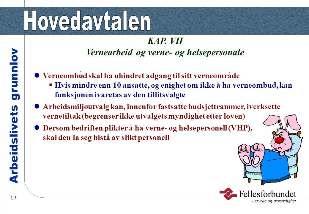 Arbeidslivets grunnlov 19 KAP. VII Vernearbeid og verne- og helsepersonale Verneombud skal ha uhindret adgang til sitt verneområde  Hvis mindre enn 1