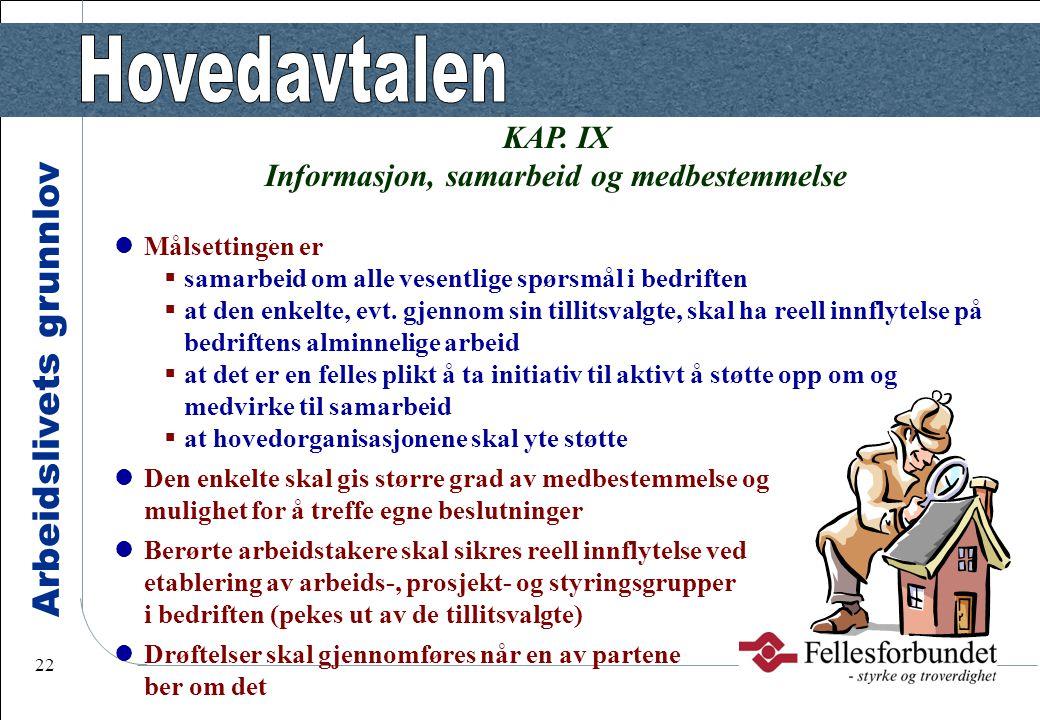 Arbeidslivets grunnlov 22 KAP. IX Informasjon, samarbeid og medbestemmelse Målsettingen er  samarbeid om alle vesentlige spørsmål i bedriften  at de
