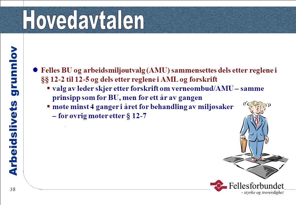 Arbeidslivets grunnlov 38 Felles BU og arbeidsmiljøutvalg (AMU) sammensettes dels etter reglene i §§ 12-2 til 12-5 og dels etter reglene i AML og fors