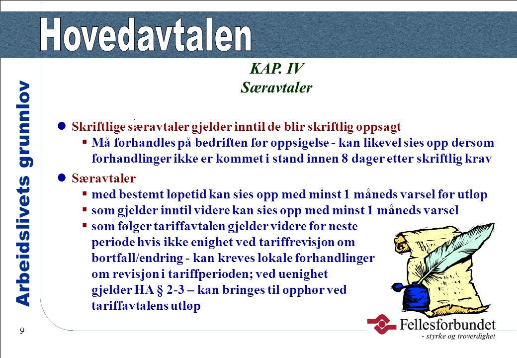 Arbeidslivets grunnlov 9 KAP. IV Særavtaler Skriftlige særavtaler gjelder inntil de blir skriftlig oppsagt  Må forhandles på bedriften før oppsigelse
