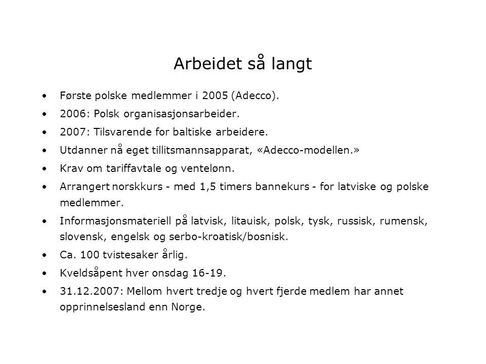 Arbeidet så langt Første polske medlemmer i 2005 (Adecco). 2006: Polsk organisasjonsarbeider. 2007: Tilsvarende for baltiske arbeidere. Utdanner nå eg