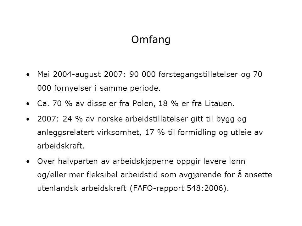 Omfang Mai 2004-august 2007: 90 000 førstegangstillatelser og 70 000 fornyelser i samme periode. Ca. 70 % av disse er fra Polen, 18 % er fra Litauen.
