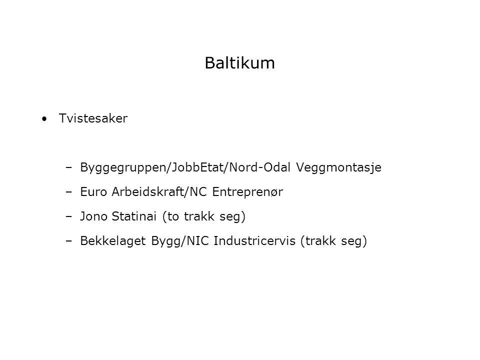 Baltikum Tvistesaker –Byggegruppen/JobbEtat/Nord-Odal Veggmontasje –Euro Arbeidskraft/NC Entreprenør –Jono Statinai (to trakk seg) –Bekkelaget Bygg/NI