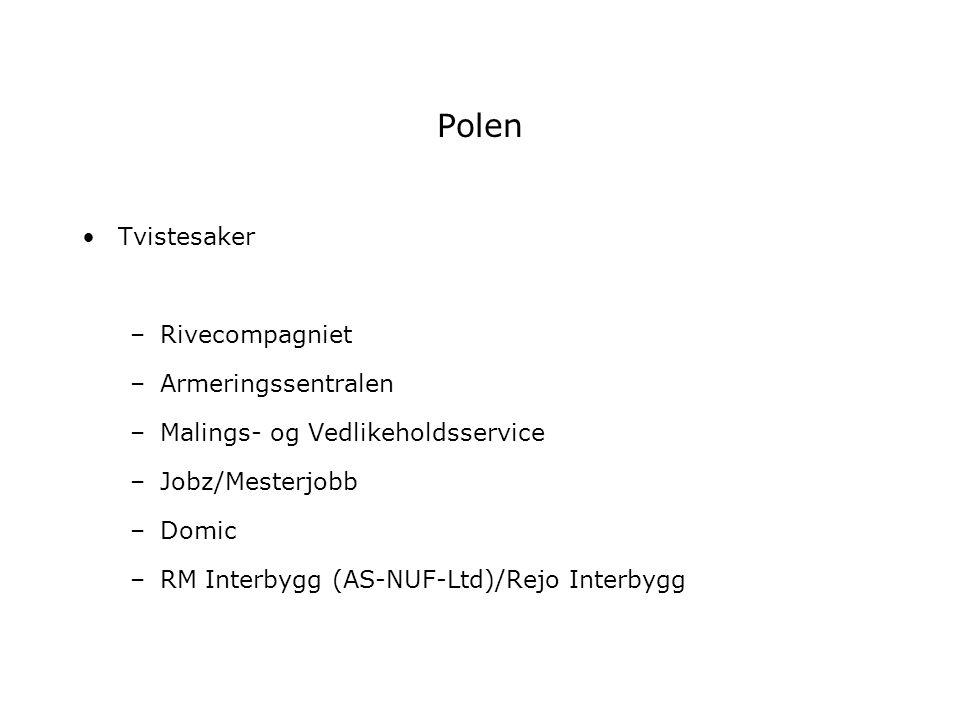 Polen Tvistesaker –Rivecompagniet –Armeringssentralen –Malings- og Vedlikeholdsservice –Jobz/Mesterjobb –Domic –RM Interbygg (AS-NUF-Ltd)/Rejo Interby