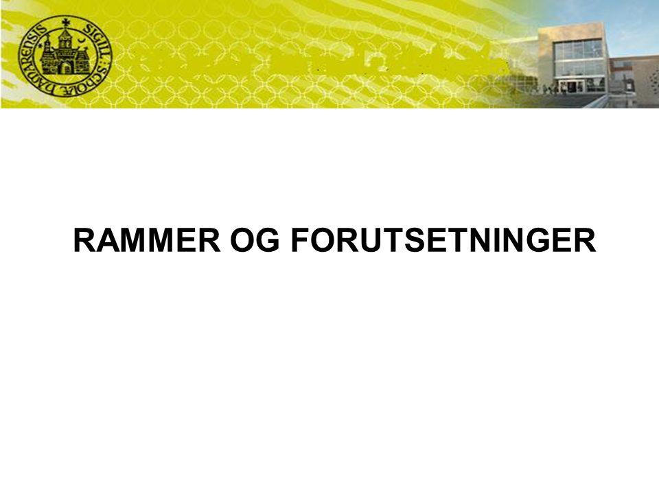 RAMMER OG FORUTSETNINGER