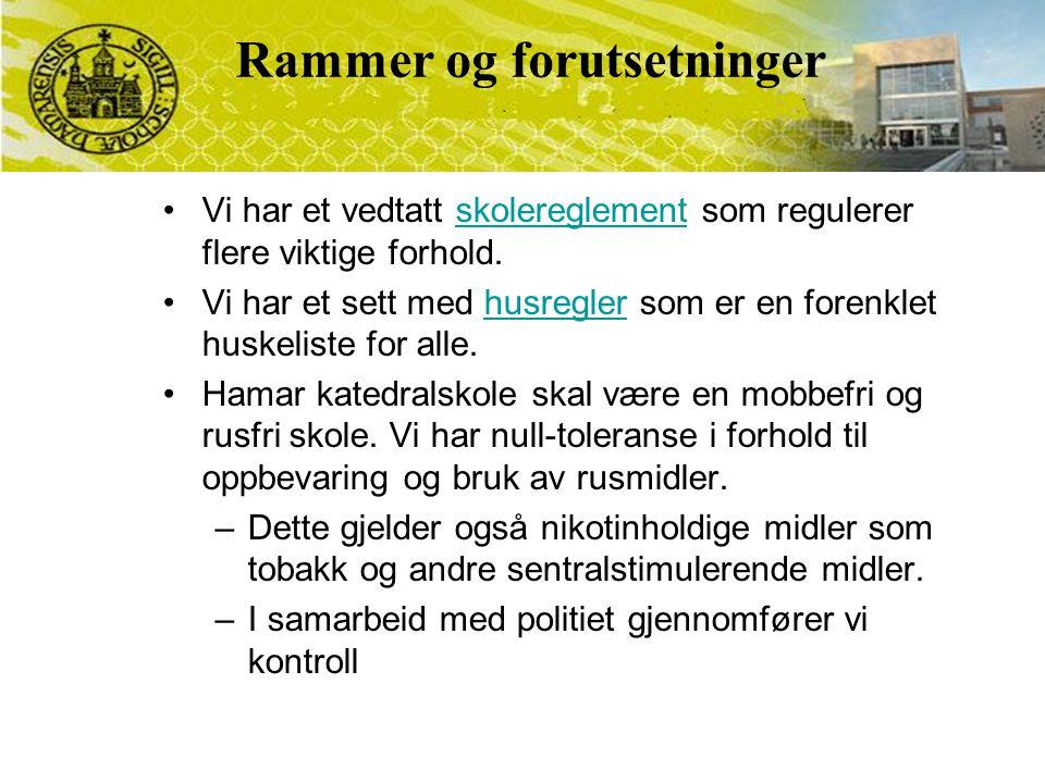 Vi har et vedtatt skolereglement som regulerer flere viktige forhold.skolereglement Vi har et sett med husregler som er en forenklet huskeliste for alle.husregler Hamar katedralskole skal være en mobbefri og rusfri skole.