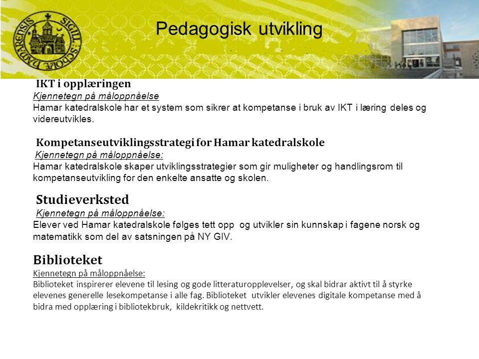 IKT i opplæringen Kjennetegn på måloppnåelse Hamar katedralskole har et system som sikrer at kompetanse i bruk av IKT i læring deles og videreutvikles.
