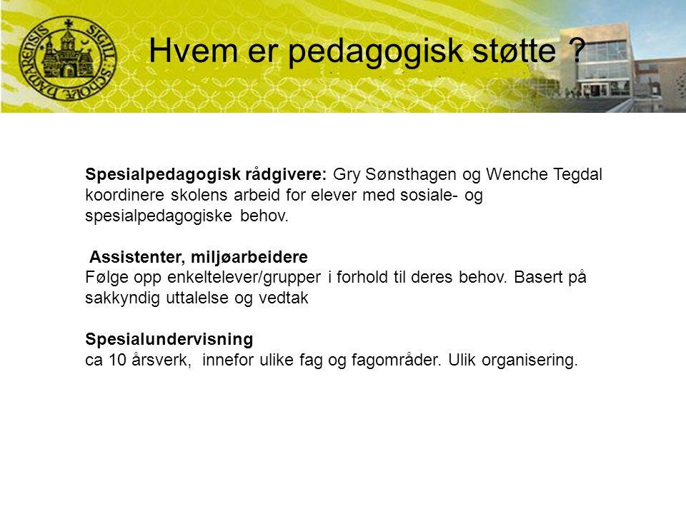 Hvem er pedagogisk støtte ? Spesialpedagogisk rådgivere: Gry Sønsthagen og Wenche Tegdal koordinere skolens arbeid for elever med sosiale- og spesialp
