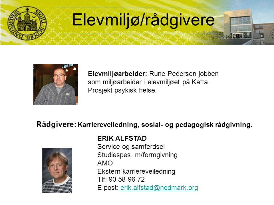 Elevmiljø/rådgivere ERIK ALFSTAD Service og samferdsel Studiespes.