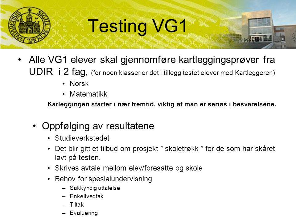 Testing VG1 Alle VG1 elever skal gjennomføre kartleggingsprøver fra UDIR i 2 fag, (for noen klasser er det i tillegg testet elever med Kartleggeren) Norsk Matematikk Karleggingen starter i nær fremtid, viktig at man er seriøs i besvarelsene.
