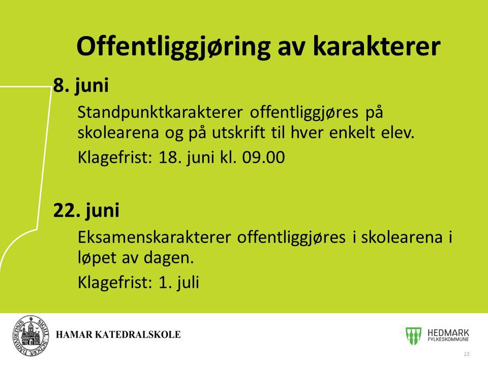 8.juni Standpunktkarakterer offentliggjøres på skolearena og på utskrift til hver enkelt elev.