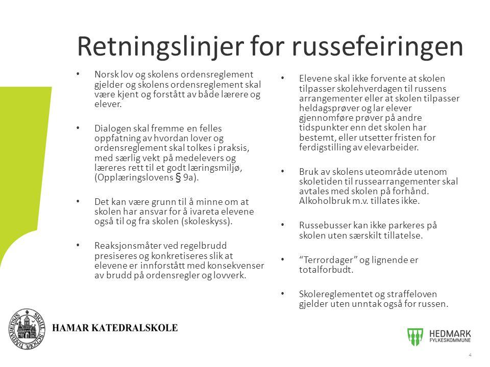 Retningslinjer for russefeiringen Norsk lov og skolens ordensreglement gjelder og skolens ordensreglement skal være kjent og forstått av både lærere og elever.