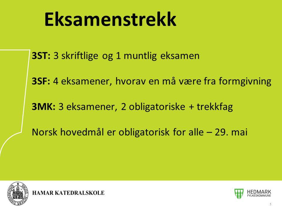 5 Eksamenstrekk 3ST: 3 skriftlige og 1 muntlig eksamen 3SF: 4 eksamener, hvorav en må være fra formgivning 3MK: 3 eksamener, 2 obligatoriske + trekkfag Norsk hovedmål er obligatorisk for alle – 29.