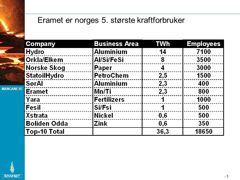 MANGANESE - 3 Eramet er norges 5. største kraftforbruker