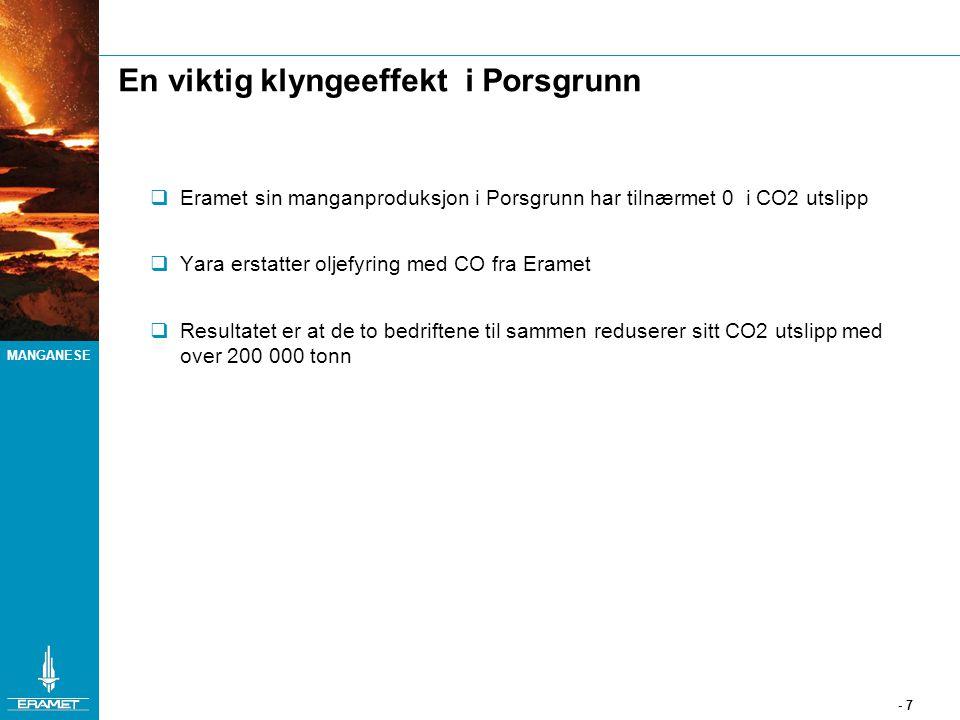 MANGANESE - 7 En viktig klyngeeffekt i Porsgrunn  Eramet sin manganproduksjon i Porsgrunn har tilnærmet 0 i CO2 utslipp  Yara erstatter oljefyring m