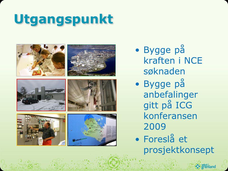 Utgangspunkt Bygge på kraften i NCE søknaden Bygge på anbefalinger gitt på ICG konferansen 2009 Foreslå et prosjektkonsept