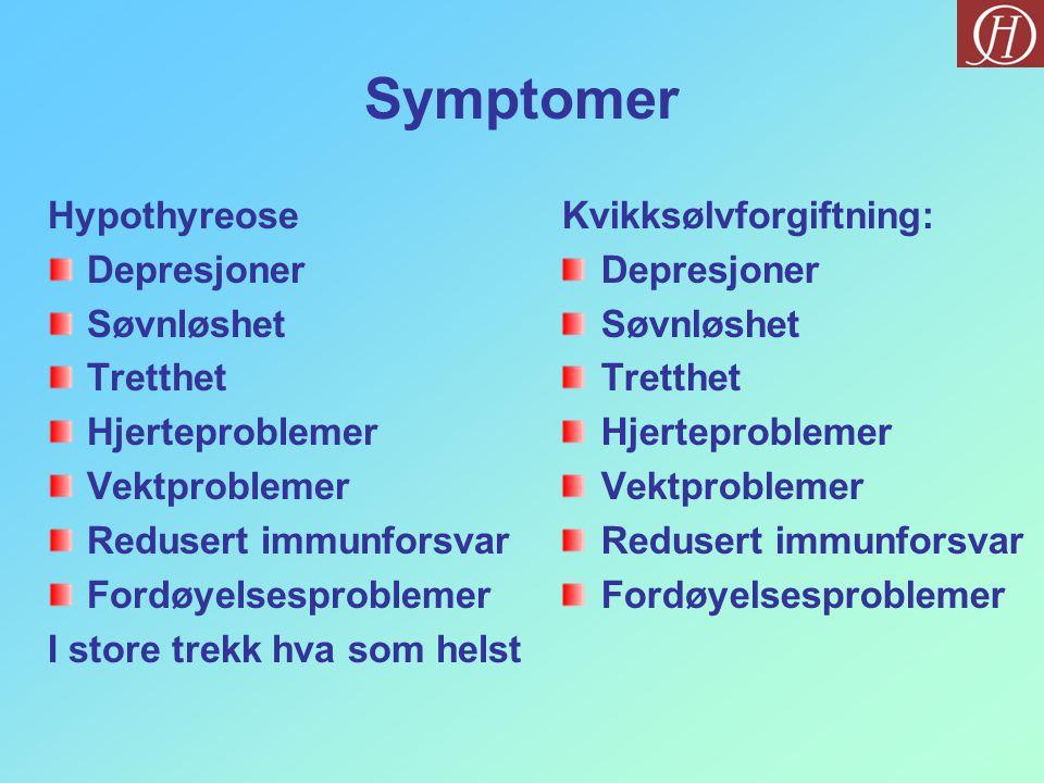 Symptomer Hypothyreose Depresjoner Søvnløshet Tretthet Hjerteproblemer Vektproblemer Redusert immunforsvar Fordøyelsesproblemer I store trekk hva som