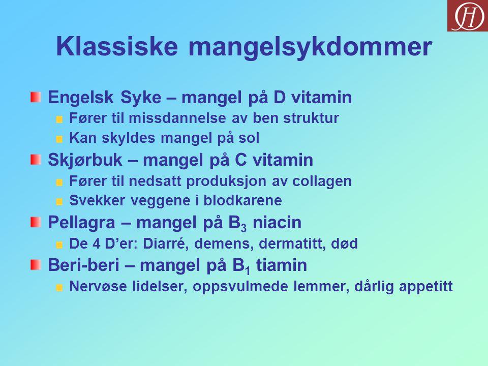 Klassiske mangelsykdommer Engelsk Syke – mangel på D vitamin Fører til missdannelse av ben struktur Kan skyldes mangel på sol Skjørbuk – mangel på C v