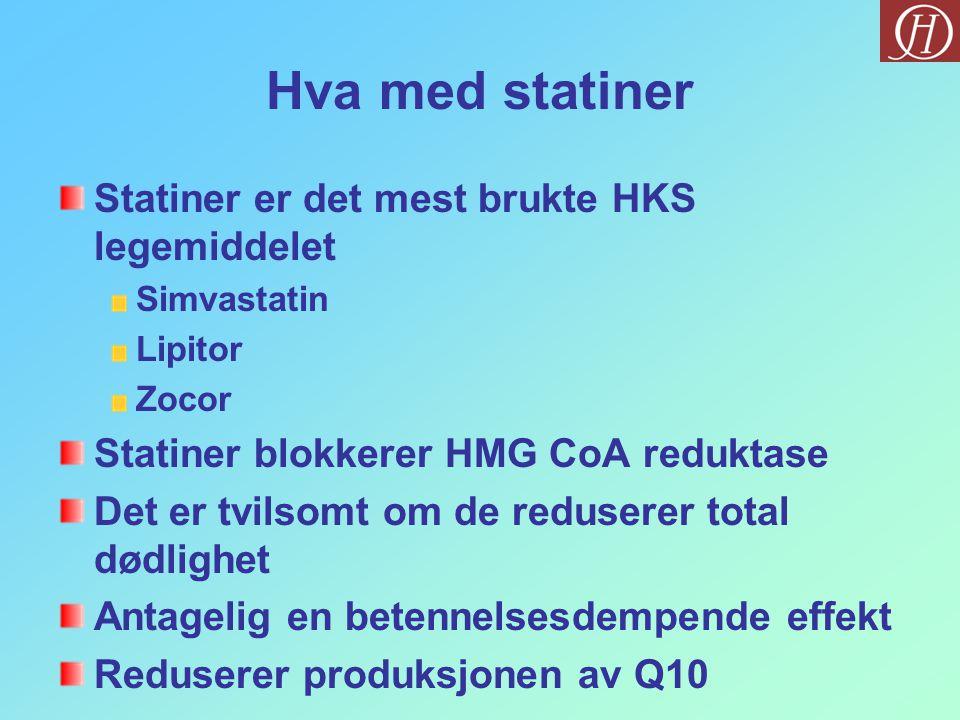 Hva med statiner Statiner er det mest brukte HKS legemiddelet Simvastatin Lipitor Zocor Statiner blokkerer HMG CoA reduktase Det er tvilsomt om de reduserer total dødlighet Antagelig en betennelsesdempende effekt Reduserer produksjonen av Q10