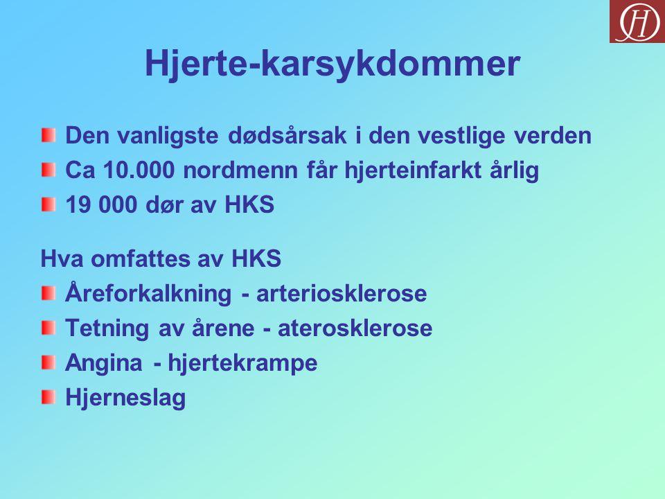 Den vanligste dødsårsak i den vestlige verden Ca 10.000 nordmenn får hjerteinfarkt årlig 19 000 dør av HKS Hva omfattes av HKS Åreforkalkning - arteriosklerose Tetning av årene - aterosklerose Angina - hjertekrampe Hjerneslag