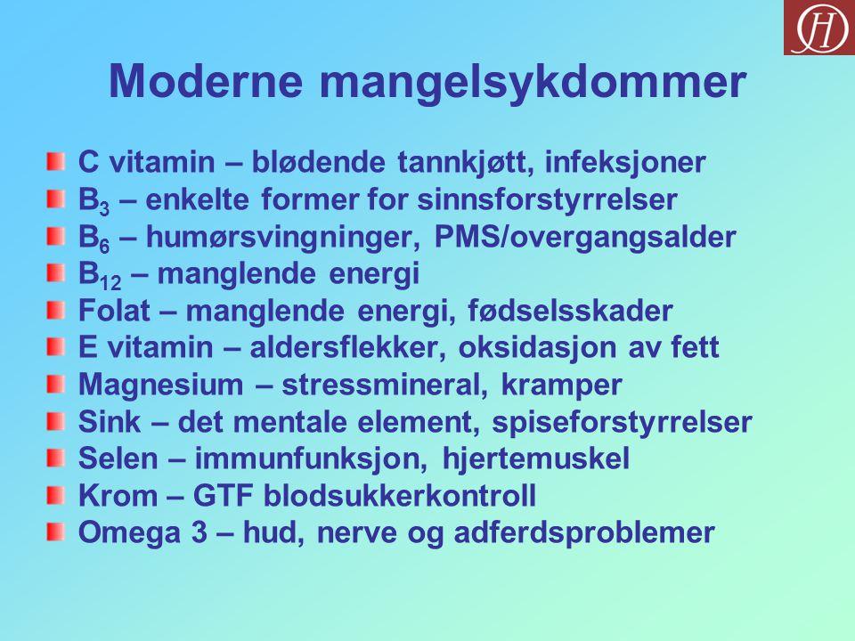 Moderne mangelsykdommer C vitamin – blødende tannkjøtt, infeksjoner B 3 – enkelte former for sinnsforstyrrelser B 6 – humørsvingninger, PMS/overgangsalder B 12 – manglende energi Folat – manglende energi, fødselsskader E vitamin – aldersflekker, oksidasjon av fett Magnesium – stressmineral, kramper Sink – det mentale element, spiseforstyrrelser Selen – immunfunksjon, hjertemuskel Krom – GTF blodsukkerkontroll Omega 3 – hud, nerve og adferdsproblemer