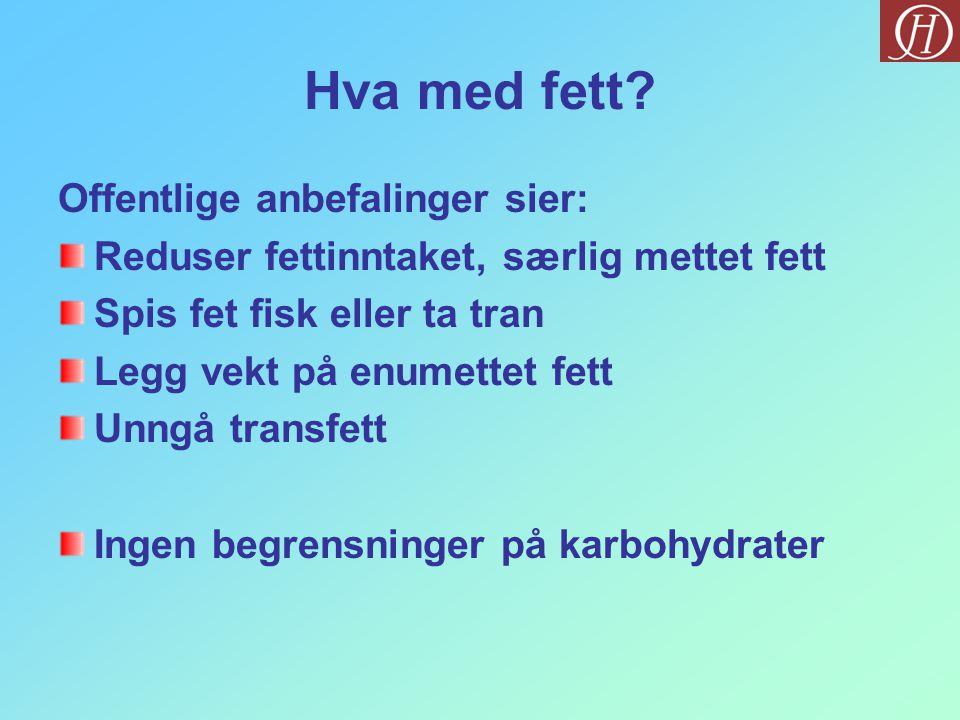 Hva med fett? Offentlige anbefalinger sier: Reduser fettinntaket, særlig mettet fett Spis fet fisk eller ta tran Legg vekt på enumettet fett Unngå tra