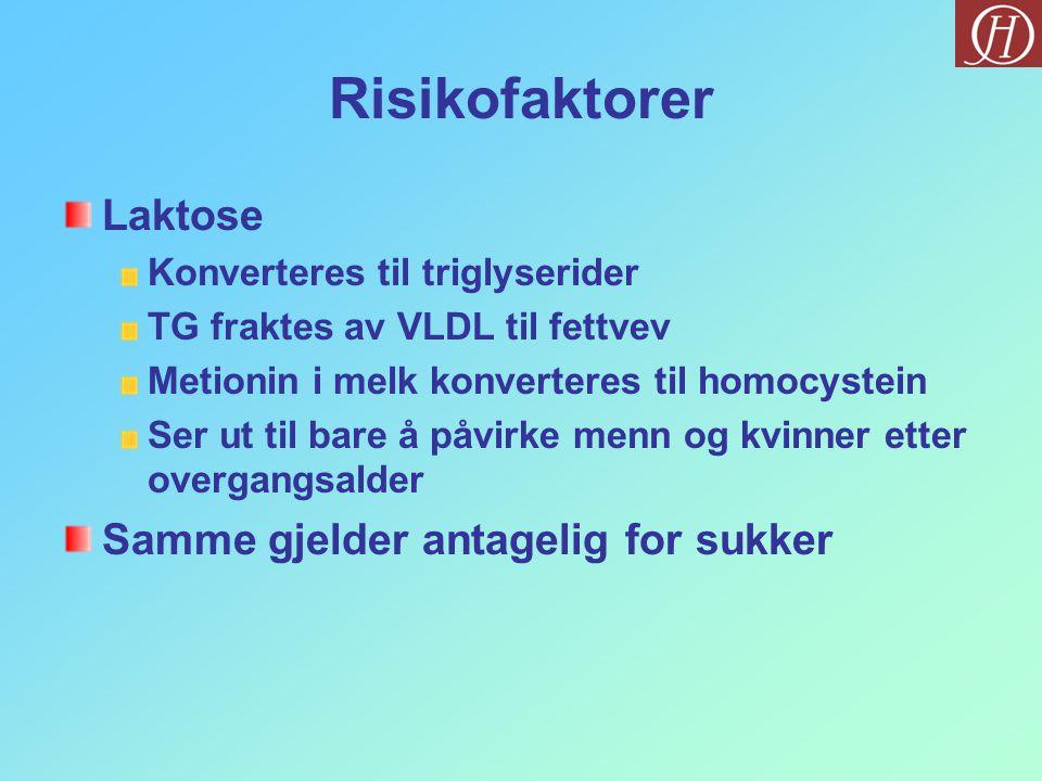 Risikofaktorer Laktose Konverteres til triglyserider TG fraktes av VLDL til fettvev Metionin i melk konverteres til homocystein Ser ut til bare å påvirke menn og kvinner etter overgangsalder Samme gjelder antagelig for sukker