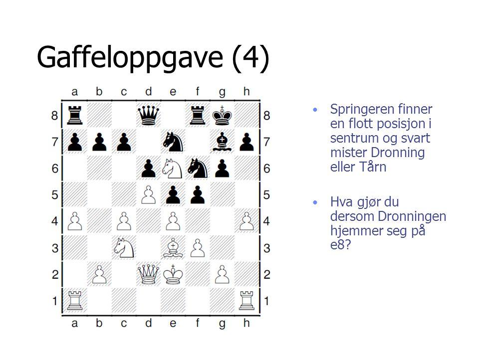 Gaffeloppgave (4) Springeren finner en flott posisjon i sentrum og svart mister Dronning eller Tårn Hva gjør du dersom Dronningen hjemmer seg på e8?