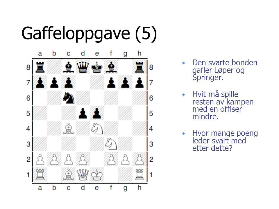 Gaffeloppgave (5) Den svarte bonden gafler Løper og Springer. Hvit må spille resten av kampen med en offiser mindre. Hvor mange poeng leder svart med