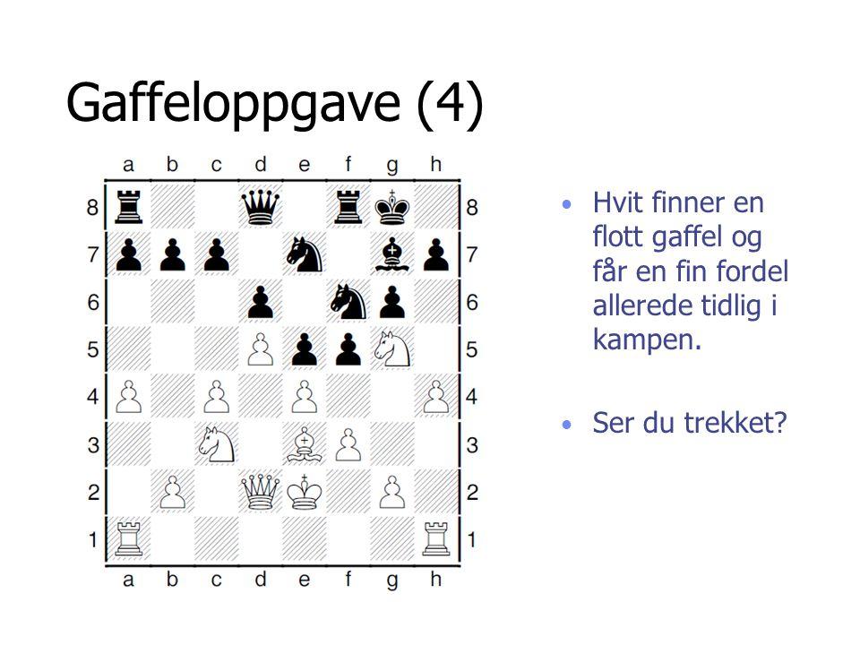 Gaffeloppgave (4) Hvit finner en flott gaffel og får en fin fordel allerede tidlig i kampen. Ser du trekket?