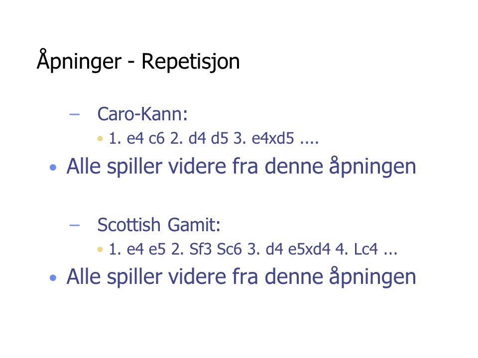 Åpninger - Repetisjon –Caro-Kann: 1. e4 c6 2. d4 d5 3. e4xd5.... Alle spiller videre fra denne åpningen –Scottish Gamit: 1. e4 e5 2. Sf3 Sc6 3. d4 e5x