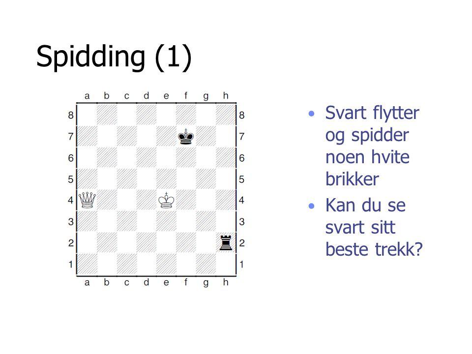 Spidding (1) Svart flytter og spidder noen hvite brikker Kan du se svart sitt beste trekk?