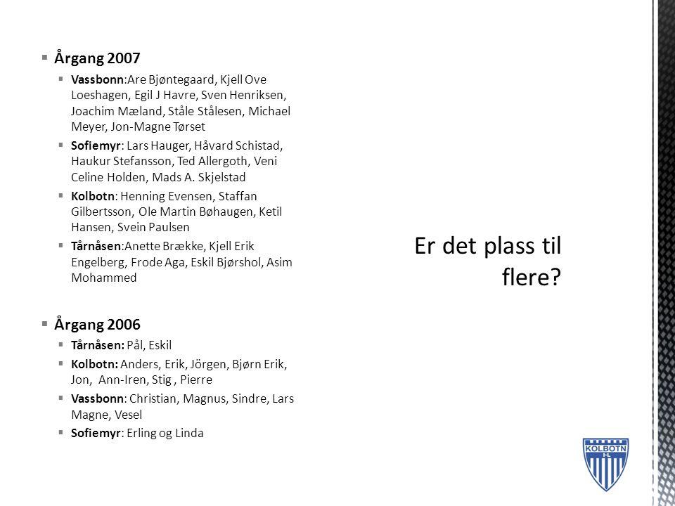  2007 betaler 1000 kroner i treningsavgift  1 gang i uken  Oktober og ut mai inne på respektiv skole  Mai-Oktober ute ved respektiv skole.