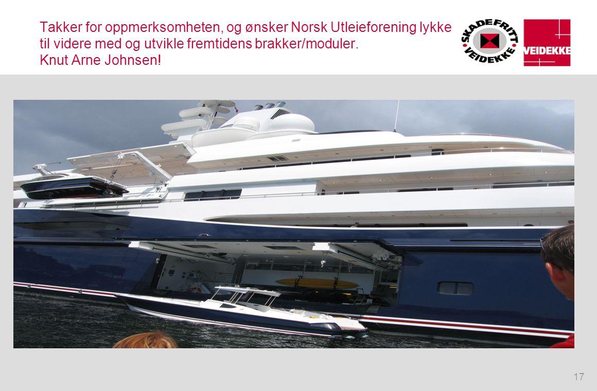 Takker for oppmerksomheten, og ønsker Norsk Utleieforening lykke til videre med og utvikle fremtidens brakker/moduler.