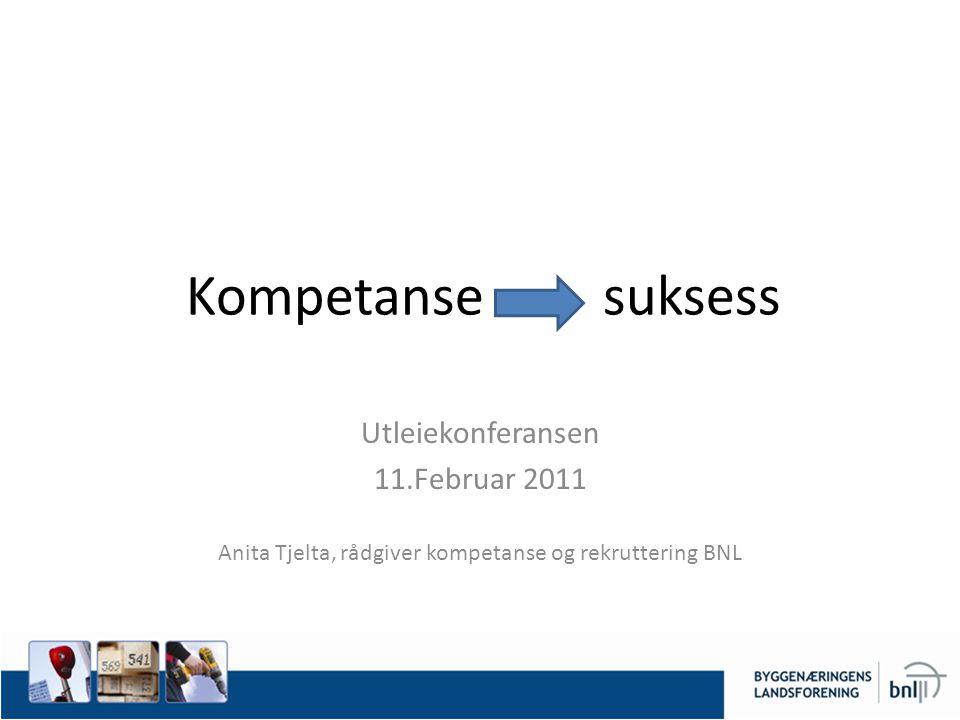 Kompetanse suksess Utleiekonferansen 11.Februar 2011 Anita Tjelta, rådgiver kompetanse og rekruttering BNL