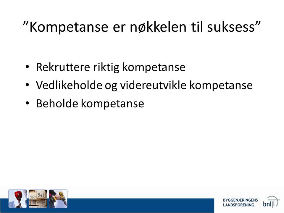 Kompetanse er nøkkelen til suksess Rekruttere riktig kompetanse Vedlikeholde og videreutvikle kompetanse Beholde kompetanse