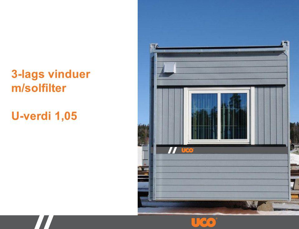 3-lags vinduer m/solfilter U-verdi 1,05