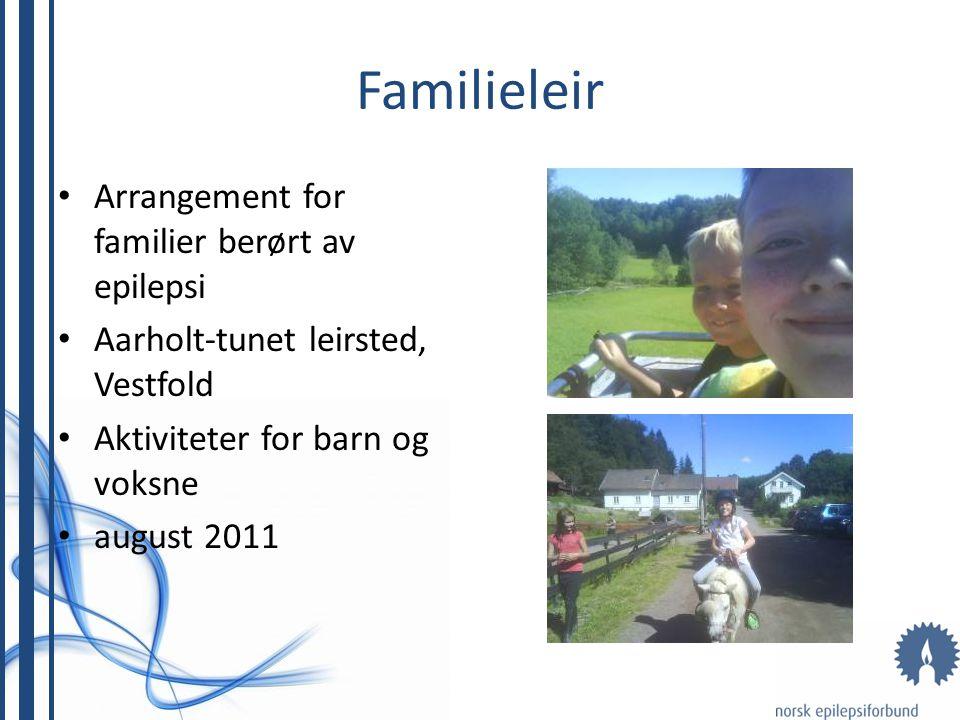 Familieleir Arrangement for familier berørt av epilepsi Aarholt-tunet leirsted, Vestfold Aktiviteter for barn og voksne august 2011