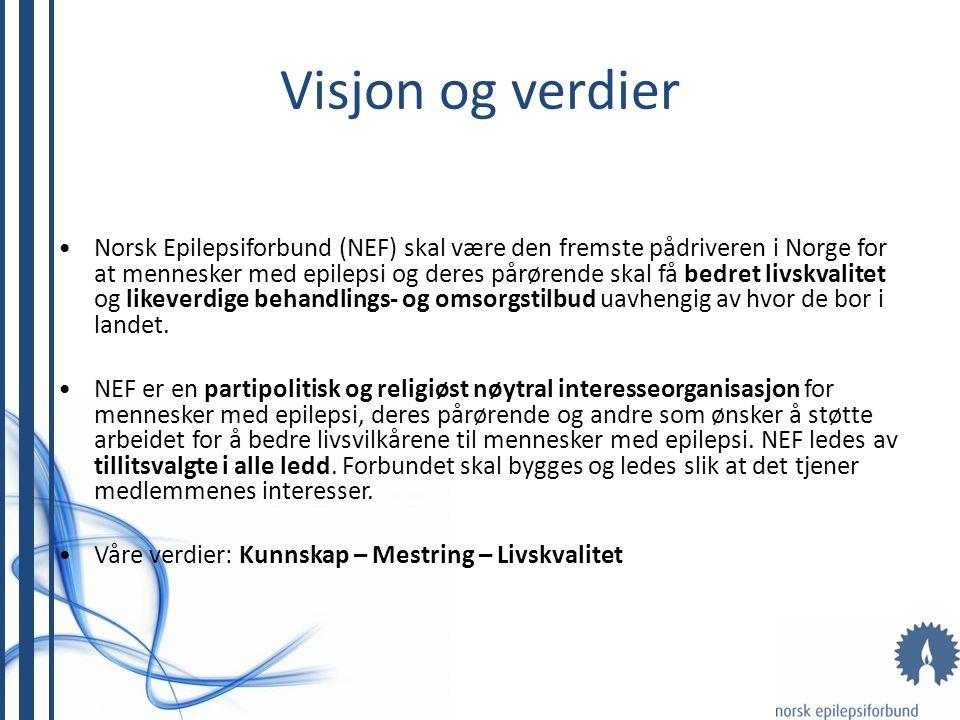 Visjon og verdier Norsk Epilepsiforbund (NEF) skal være den fremste pådriveren i Norge for at mennesker med epilepsi og deres pårørende skal få bedret