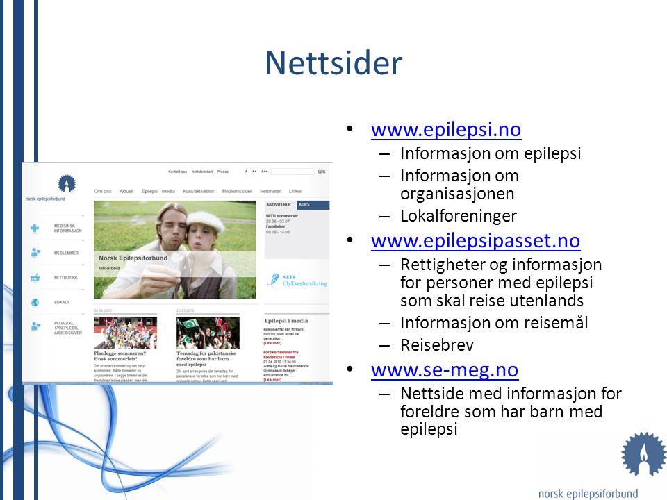 Nettsider www.epilepsi.no – Informasjon om epilepsi – Informasjon om organisasjonen – Lokalforeninger www.epilepsipasset.no – Rettigheter og informasj