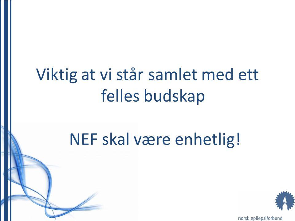 Viktig at vi står samlet med ett felles budskap NEF skal være enhetlig!