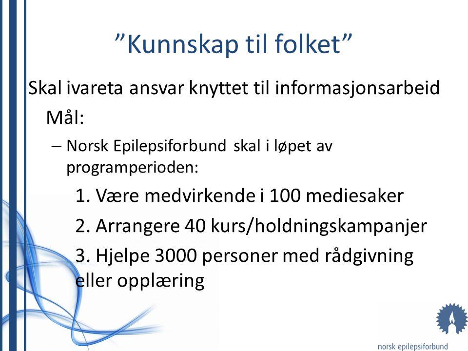 Kunnskap til folket Skal ivareta ansvar knyttet til informasjonsarbeid Mål: – Norsk Epilepsiforbund skal i løpet av programperioden: 1.