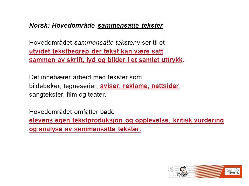 Norsk: Hovedområde sammensatte tekster Hovedområdet sammensatte tekster viser til et utvidet tekstbegrep der tekst kan være satt sammen av skrift, lyd