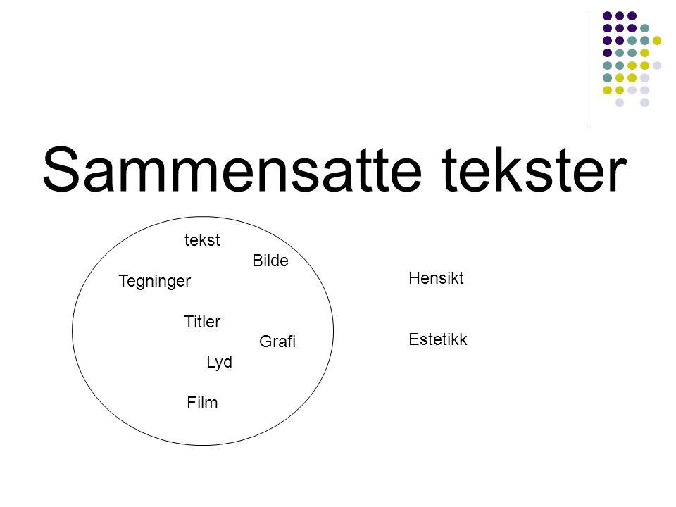Sammensatte tekster … Hensikt Estetikk tekst Bilde Tegninger Titler Grafi Lyd Film