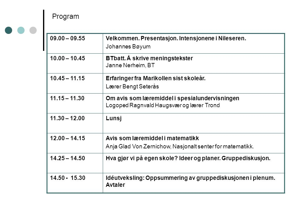 Program 09.00 – 09.55Velkommen. Presentasjon. Intensjonene i Nileseren. Johannes Bøyum 10.00 – 10.45BTbatt. Å skrive meningstekster Janne Nerheim, BT