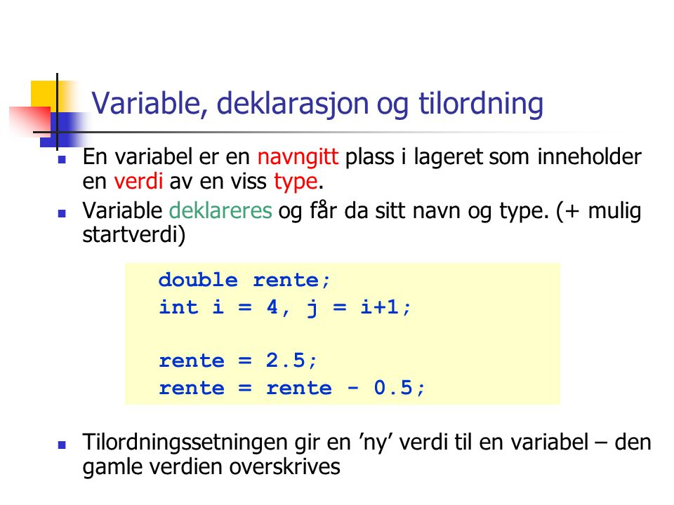 Eksempel 2 : andre skilletegn import java.util.*; import easyIO.*; class TokenizerDemo2 { public static void main(String [] args){ In tast = new In(); System.out.print( Skriv en setning: ); String linje = tast.inLine(); StringTokenizer st = new StringTokenizer(linje); while (st.hasMoreTokens()) { System.out.println(st.nextToken( ,.:; )); } Vi angir fire mulige skilletegn Test programmet