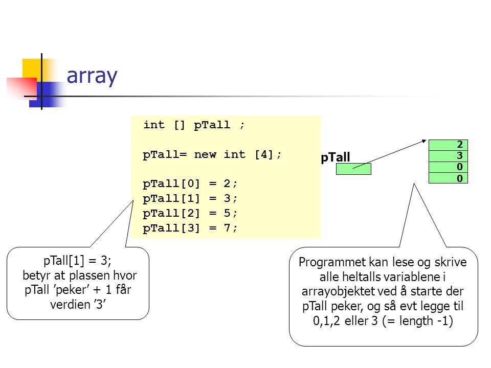 array En array betår av to deler arraypekeren arrayobjektet int [] pTall ; pTall= new int [4]; pTall[0] = 2; pTall[1] = 3; pTall[2] = 5; pTall[3] = 7;
